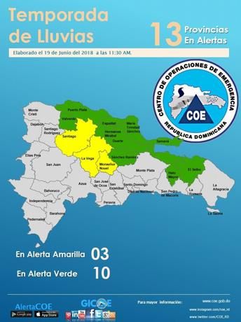 Contra las inundaciones, el COE eleva a 13 las provincias en alerta, 3 de ellas en amarilla