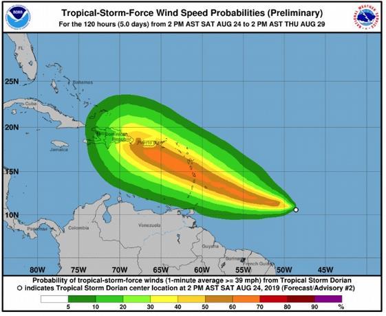Huracán Dorian llegaría entre jueves y viernes a República Dominicana
