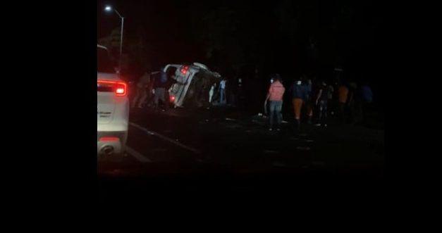 Jeepeta se vuelca en puente Juan Pablo Duarte; no hubo heridos